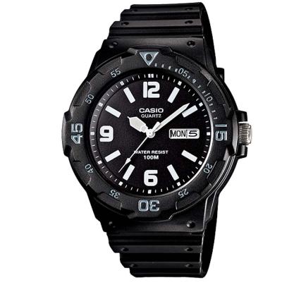 CASIO 潛水風指針錶(MRW-200H-1B2)-黑/外圈水藍刻度/44.6mm