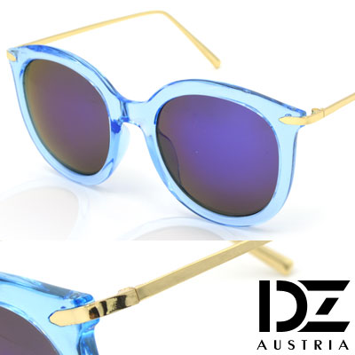 DZ 纖細線調 抗UV 太陽眼鏡墨鏡(透藍框深藍膜)