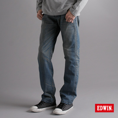 EDWIN-大尺碼-XV刷色中直筒牛仔褲-男款-漂淺藍