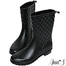 Ann'S雨季中-時髦菱格紋素色中筒雨靴-黑
