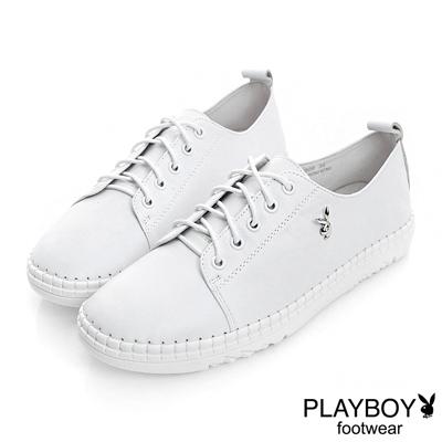 PLAYBOY 極簡時尚 素面真皮綁帶休閒鞋-白(女)