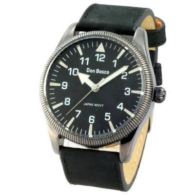 Don Bosco 懷舊飛行麂皮中性腕錶-黑/42mm