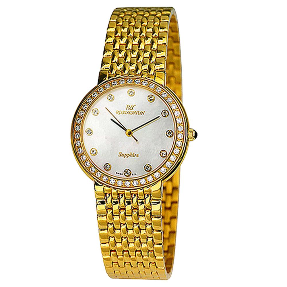 ROSDENTON 勞斯丹頓流金歲月珍珠貝晶鑽時尚手錶-金/32mm