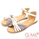 G.Ms. 扭結蝴蝶結涼平底涼鞋-白色
