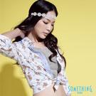 【SOMETHING】鄉村微漫 拼色印花襯衫-女款(淡藍色)