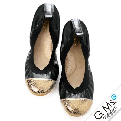 【G.Ms.】旅行女孩II‧撞色拼接全真皮可攜式軟Q娃娃鞋(附專屬鞋袋)‧黑鞋身X古銅