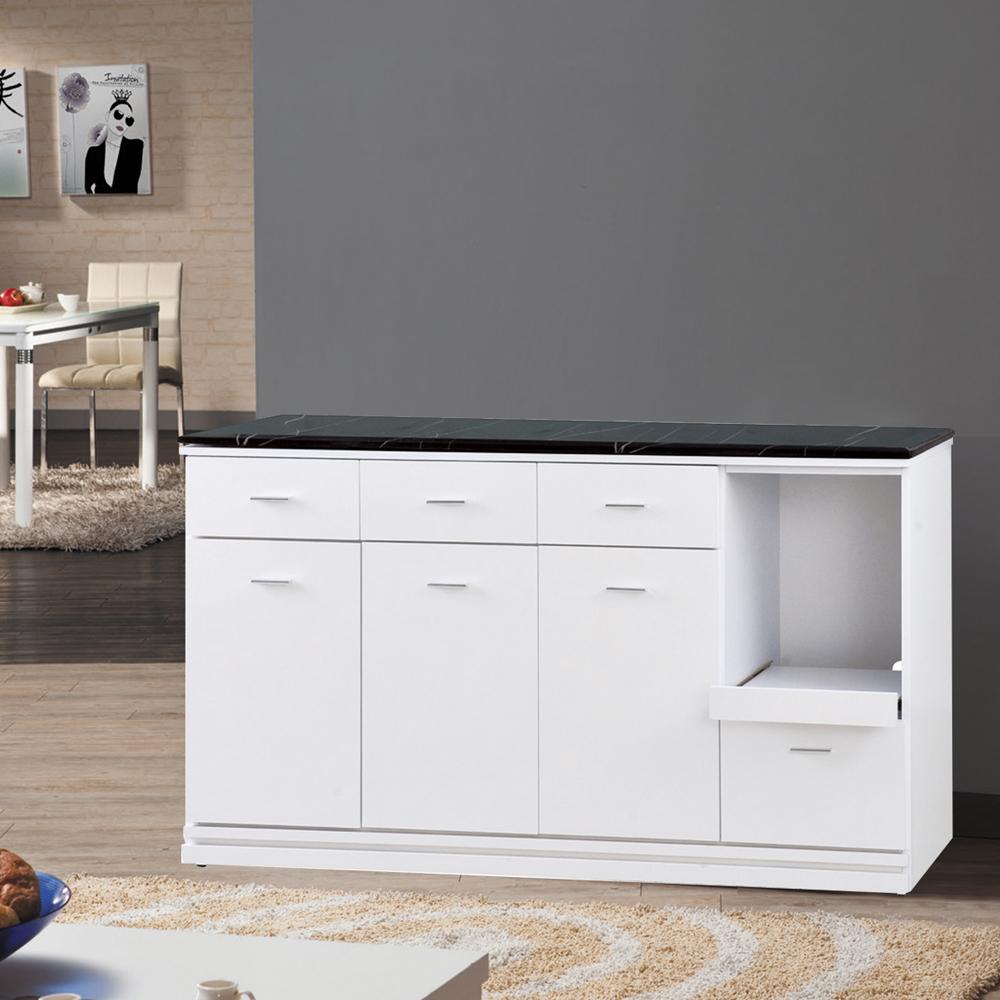 凱曼 普利5尺白色三抽餐櫃收納櫃(下座)