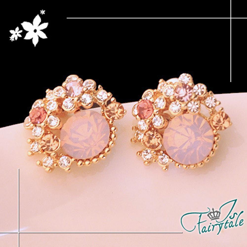 iSFairytale伊飾童話 新娘頭飾 華麗彩鑽耳環 粉