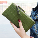 iSPurple 巧克力塊 對折皮革手拿長夾 綠