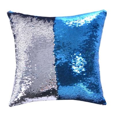 魔術雙色亮片方型抱枕/靠枕 (藍銀色)