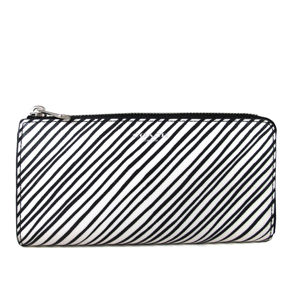 COACH 燙銀Logo黑白斜紋防潑水L型拉鍊長夾