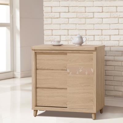 凱曼 安潔2.7尺木紋推門餐櫃收納櫃