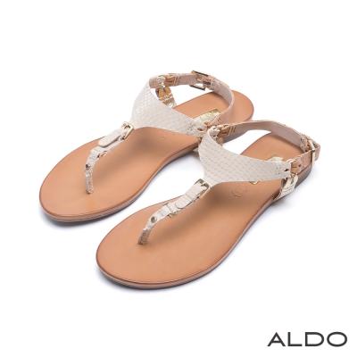 ALDO-原色真皮窄版金屬皮帶夾腳涼鞋-清新裸色