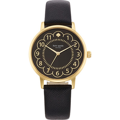 Kate Spade NEW YORK Metro 黑桃玩家腕錶-黑x金框/35mm