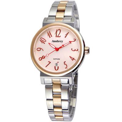Audrey 歐德利 氣質出眾 時尚珍珠貝女錶(AUGM5652)-粉x雙色/33mm