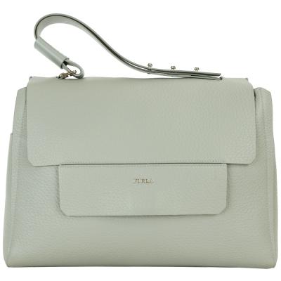 FURLA Capriccio 荔紋皮革手提包(灰綠色)