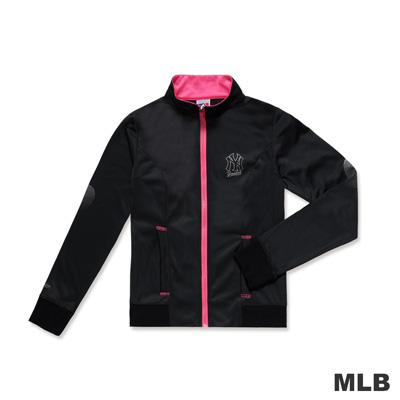 MLB-紐約洋基隊時尚桃紅反光設計休閒外套-黑色(女)