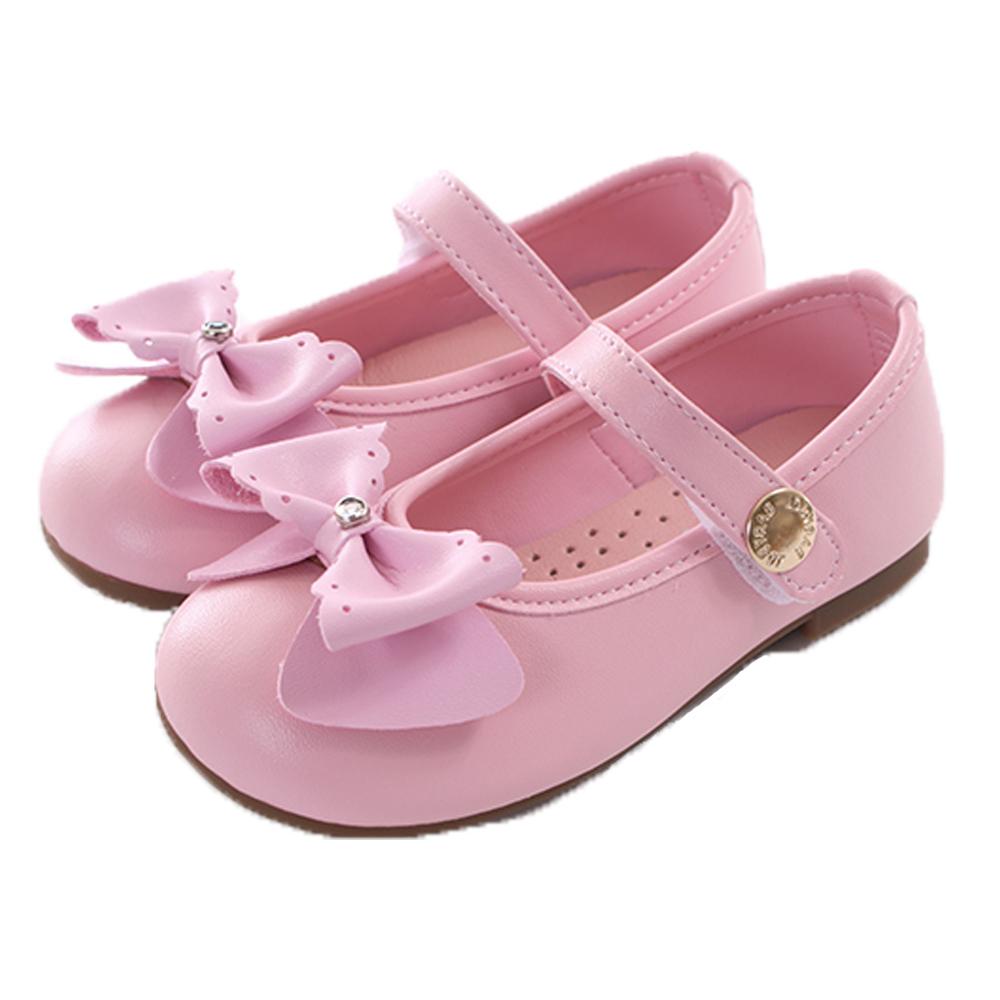 魔法Baby蝴蝶結手工魔鬼貼娃娃鞋 粉 sk0330