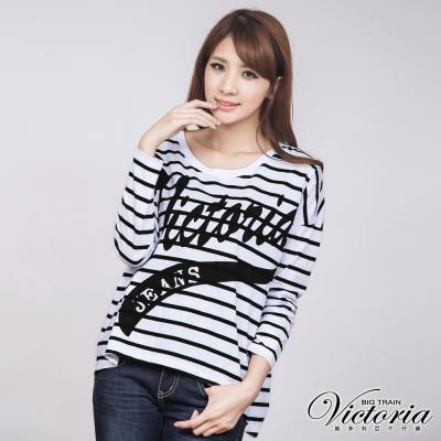 Victoria 條紋印花長袖T-女-黑白條