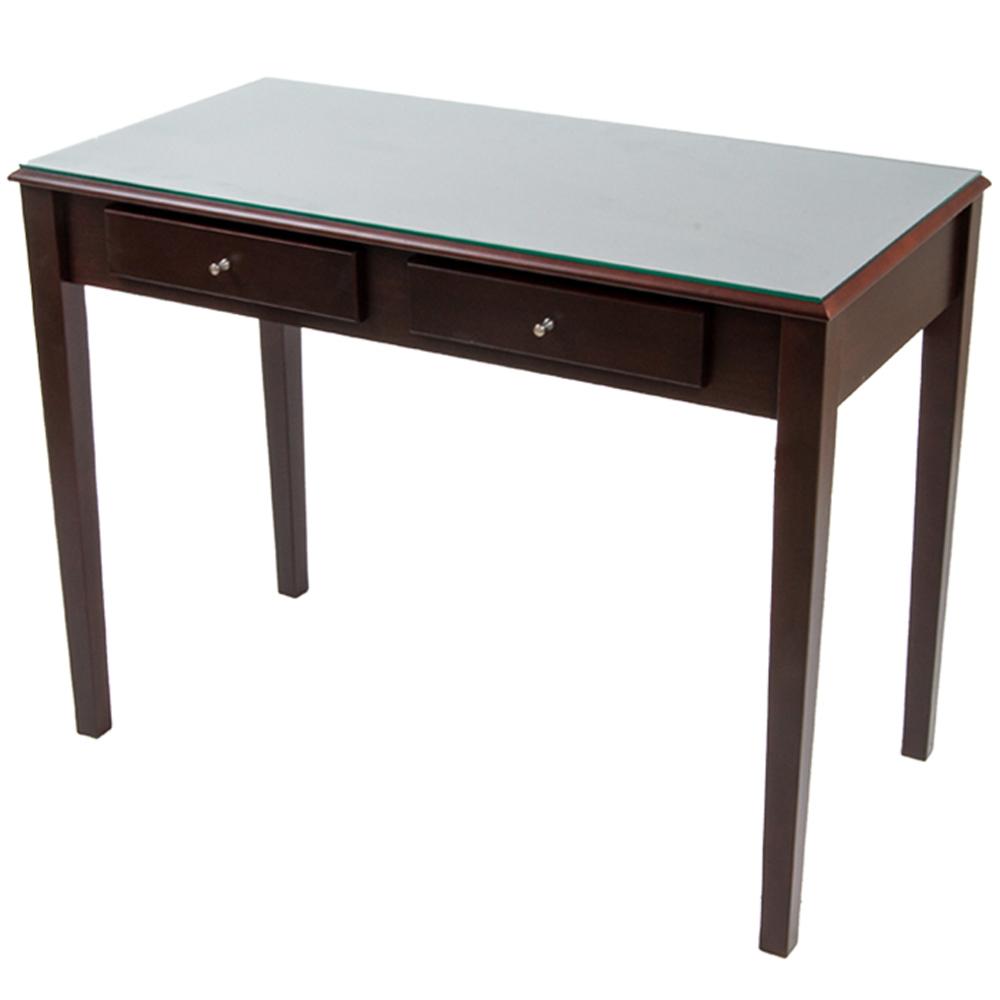 《BuyJM》維納斯實木腳強化玻璃雙抽書桌(寬100公分)