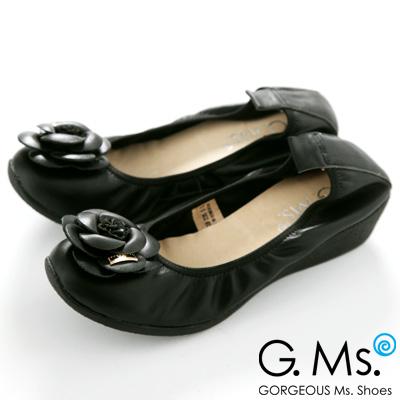 【G.Ms.】經典山茶花‧柔軟彎折厚底坡跟牛皮娃娃鞋‧使壞黑
