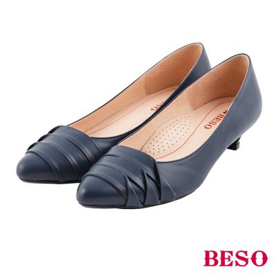 BESO 氣質優雅 知性簡約設計全真皮跟鞋~藍