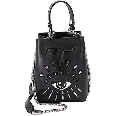 KENZO Eye Bucket 刺繡眼睛皮革束口桶包(Mini/黑色)