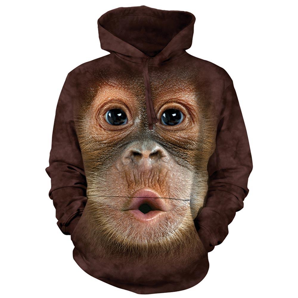 摩達客 美國進口The Mountain 可愛猩猩臉 套頭套頭長袖連帽T恤