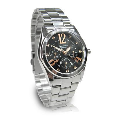 Arseprince 方刻晶鑽時尚三眼中性錶-黑金28mm
