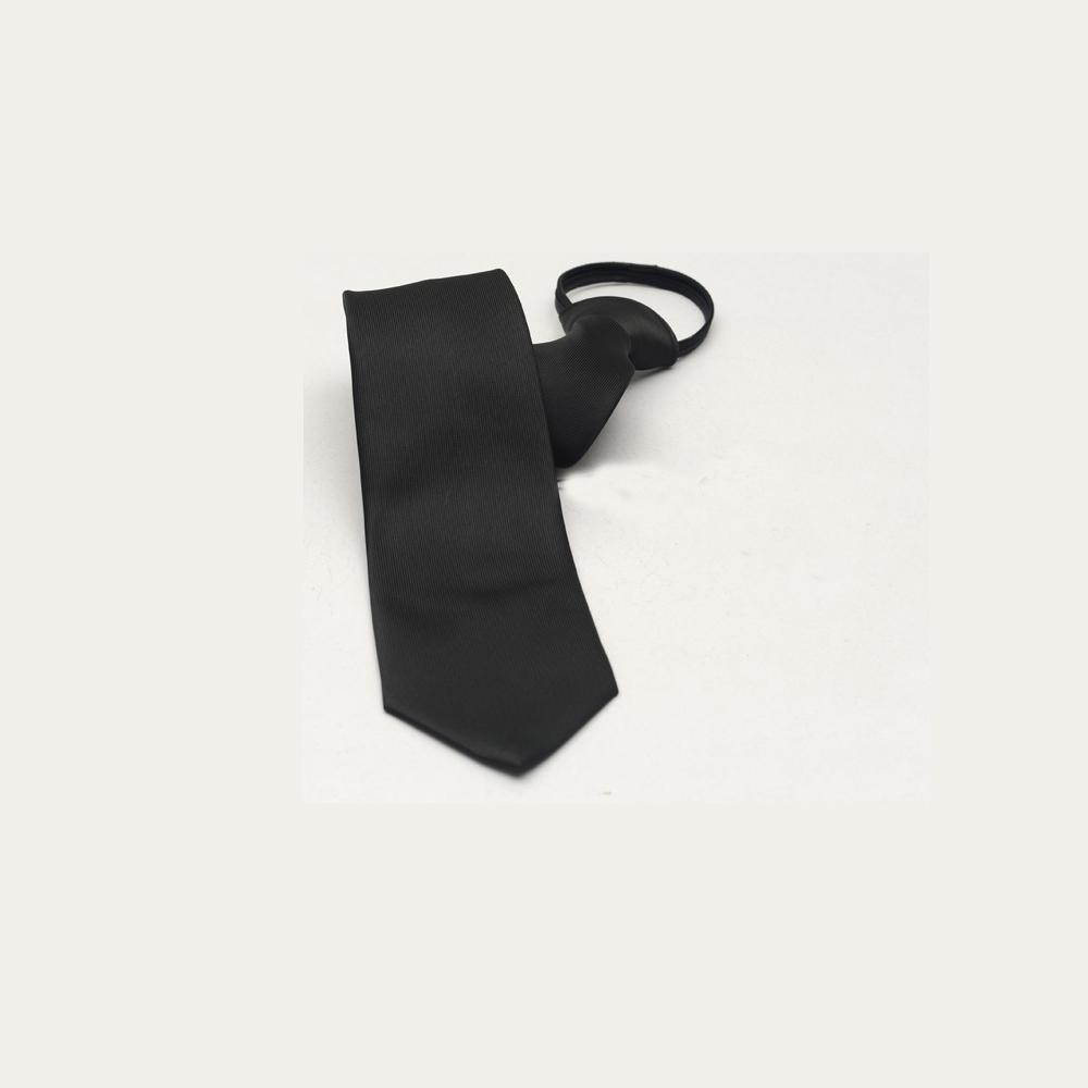拉福   布面辦公領帶8cm寬版領帶拉鍊領帶 (黑)