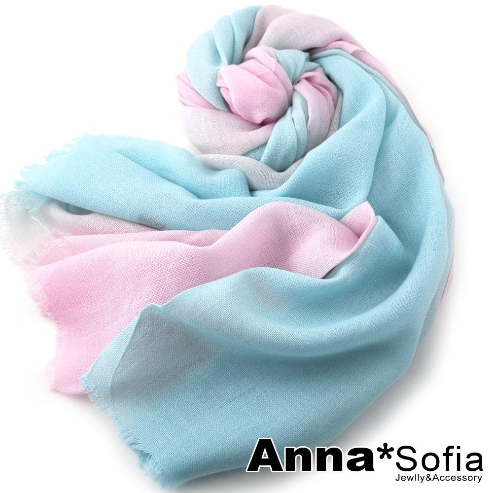 AnnaSofia漸層紛色純羊毛長圍巾水藍粉