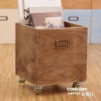 CiS自然行實木家具 收納箱-玩具箱-檔案夾收納-附輪(復古焦糖色)