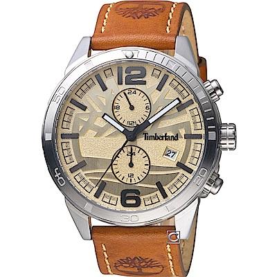 Timberland 越野冒險時尚腕錶-米黃x黃棕/46mm