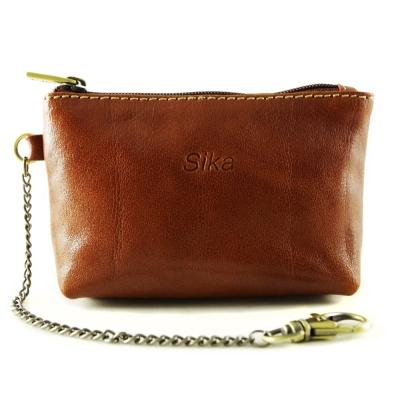 Sika - 義大利時尚真皮拉鍊零錢包A8228-01 - 原味褐