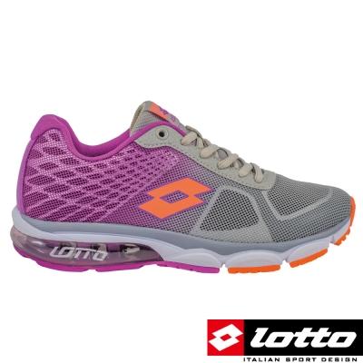 LOTTO-義大利-女-氣墊跑鞋-灰-紫