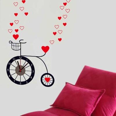 E-029創意生活系列-愛心自行車創意時鐘貼 大尺寸高級創意壁貼 / 牆貼