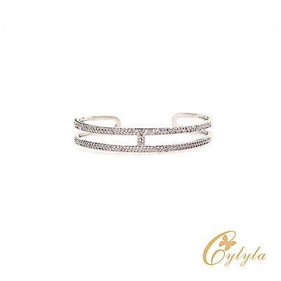 Cylyla思琳娜 H白水晶優雅施華洛世奇C型手環-BL1294G(銀色)