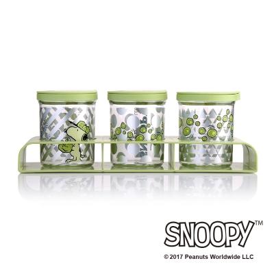 史努比SNOOPY 翠燦滑蓋調味罐三件組附底座 (8H)