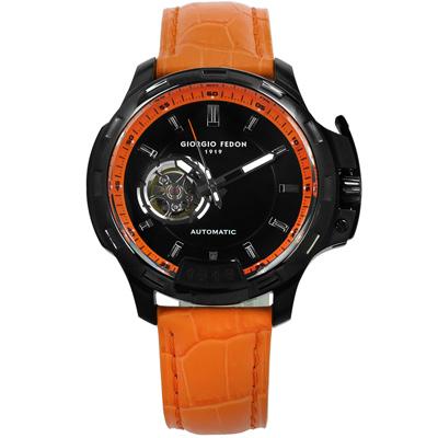 GIORGIO FEDON 1919 自動兼手動上鍊機械錶真皮手錶-黑x橘/46mm