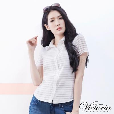 Victoria 襯衫領縫寶石透視布短袖襯衫-女-白色
