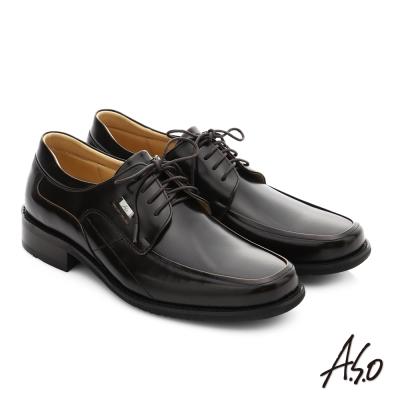 A.S.O 勁步雙核心 真皮鏡面綁帶奈米紳士鞋 茶色