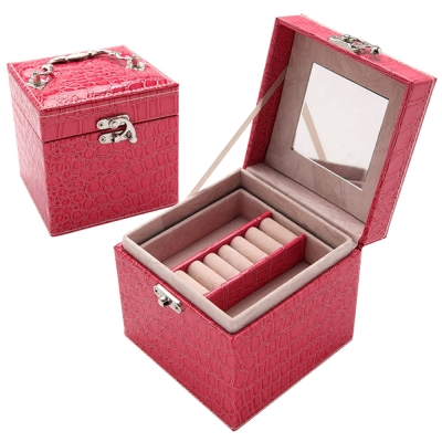 時尚鱷紋皮革三層飾品收納盒