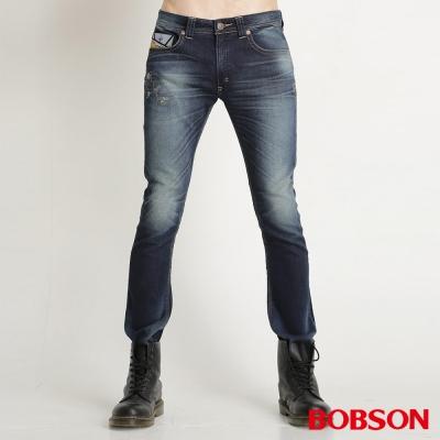 BOBSON 男款低腰針織合身直筒褲(藍53)