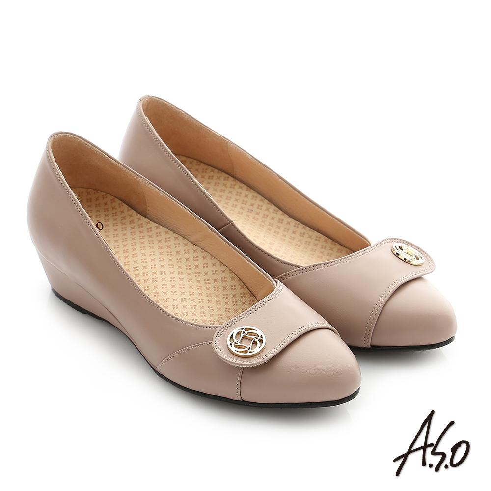 A.S.O 拇指外翻 真皮飾釦奈米楔型跟鞋 膚色