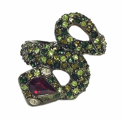 Kenneth Jay Lane 好萊塢巨星最愛 萊茵石綠色彩鑽 8造型 蛇戒指 附原廠盒