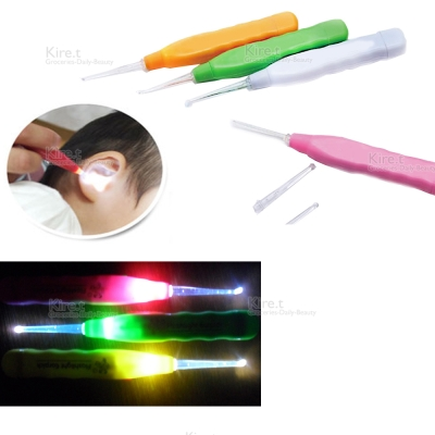 kiret日本 LED發光挖耳器3入-耳勺安全挖耳朵(顏色隨機)
