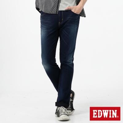 EDWIN 迦績褲 內藏紅布邊窄直筒牛仔褲-男-酵洗藍