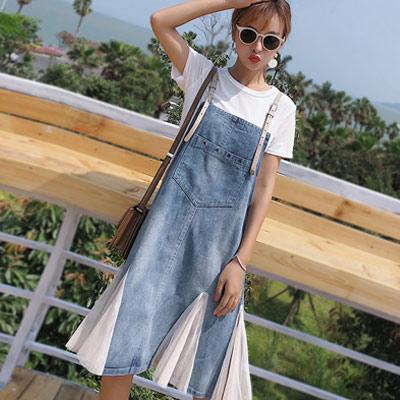 圓領T恤+拼接網紗牛仔吊帶裙兩件套 (共二色)-Kugi Girl