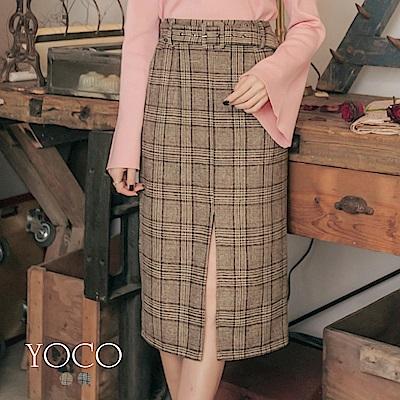 東京著衣-yoco 復古輕甜格紋前中開衩腰帶中長裙-S.M.L(共二色)