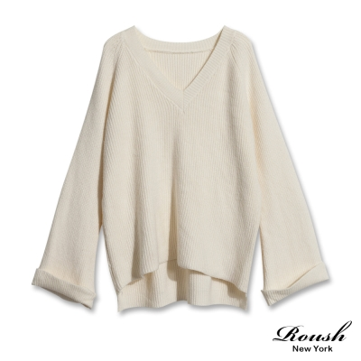 ROUSH 女生V領坑條針織毛衣 (3色)